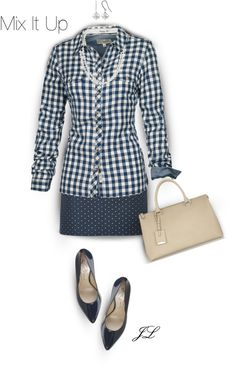 This gives me an idea for an outfit: blue gingham shirt with blue patterned Tommy Hilfiger skirt and simple shoes (nude). Casual Outfits, Cute Outfits, Fashion Outfits, Womens Fashion, Work Outfits, Fall Outfits, Summer Outfits, Dressing, Complete Outfits