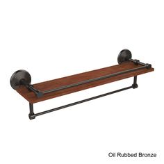 Allied Brass Monte Carlo Collection Clear IPE Ironwood 22-inch Shelf with Gallery Rail and Towel Bar (