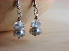 Crystal Dangle Hardware Earrings by additionsstyle on Etsy, $14.00