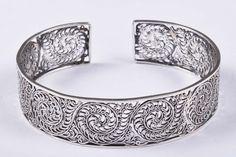925 Solid Sterling Silver Bangle Stylish Jali Work Easy to Sizable JSBG-30 #Handmade #Bangle
