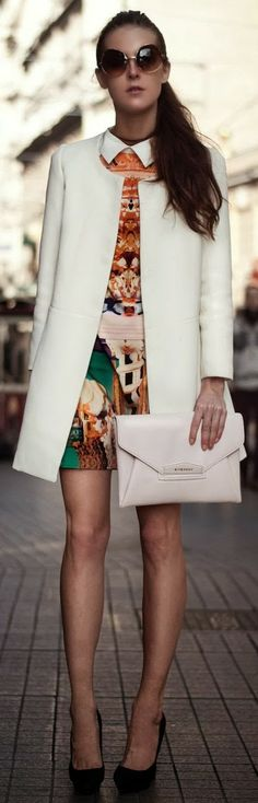 I like this look but would switch up for funkier heels. Envelope Clutch, white cool coat with cool printed top#style #fashion #chic