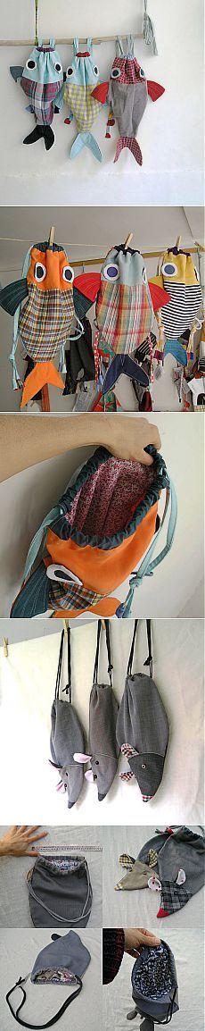 Детские рюкзачки, сумочки своими руками - рыбки и мышки. Шитье из ткани / Сумочки, пеналы, чехол для мобильного, для айпада своими руками - выкройки, фото / КлуКлу. Рукоделие - бисероплетение, квиллинг, вышивка крестом, вязание
