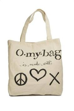 Canvas Quote Bag - Peace, love & happiness | Omybag