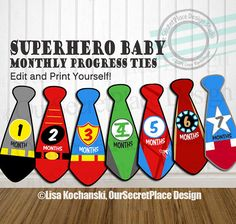 DIGITAL Superhero Monthly Milestone Superhero Monthly Tie Baby Iron On Transfer for Onsie Monthly Milestone Sticker Superhero Baby Onsie Superhero Baby Shower, Superhero Room, Superhero Baby Nursery, Superhero Ties, Superhero Characters, Baby Boy Rooms, Baby Boy Nurseries, Baby Pictures, Baby Photos