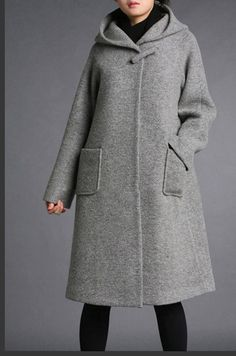 Grey wool hoodie coatmore colour and size by thesimpson 75 plus ship Tesettür Hırka Modelleri 2020 Winter Wear, Autumn Winter Fashion, Cute Coats, Mein Style, Winter Stil, Ideias Fashion, Winter Outfits, What To Wear, Style Me