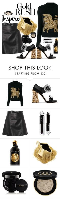 """Gold Rush"" by juliehooper ❤ liked on Polyvore featuring Alberta Ferretti, Miu Miu, Guerlain, Hillier Bartley, Gucci and Pink Box"