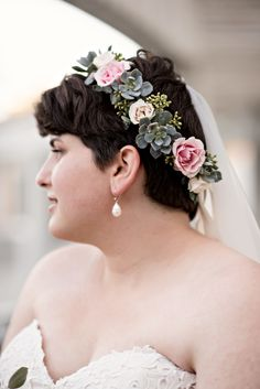 Skirball Cultural Center Taper Courtyard and Haas Ballroom, B&G Photography, flower crown with succulents, greenery, and roses by DB Creativity