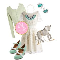 In this outfit: Adrift on a Cloud Dress in Ivory, Come On Downy Cardigan, Near and Sparkle Earrings, Style the Blues Away Necklace, Champing at the Glitz Bag, Nothing Short of Sweet Heel in Mint