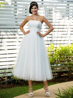 Lan Ting A-line/Princess Plus Sizes Wedding Dress - Ivory Tea-length Strapless Tulle - USD $99.99
