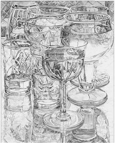 Janet Fish, drawing. When drawing glass objects: Focus on what the glass is reflecting—not the glass itself. Focus on your light sources. All transparent objects are comprised of dark & light patterns in varying degrees of value. You don't always have to draw the exact reflection—sometimes you can just indicate the reflection as a diffused image (just patterns - not pictures). Highlights, midtones, darks---work darks first, then highlights & then fill in mid tones.