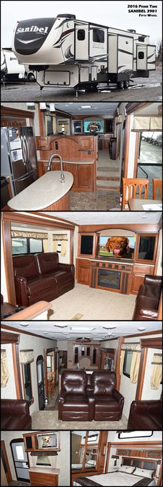 This 2016 SANIBEL 3901 Fifth Wheel by PRIME TIME offers 5 slides, which really opens up this fifth wheel and makes t feel like a home. The spacious living room is at the top of the stairs. There are theater seating and 2 hide-a-bed sofas that are opposite one another. Along the front wall you will enjoy the large entertainment center with a cozy fireplace.