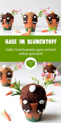 DIY Idee zu Ostern: Auch wenn dieser putzige Hase auf der Suche nach Karotten in den Blumentopf gefallen ist, sollte er auf keinen Fall zwischen der Osterdeko fehlen. Kids Crafts, Fall Crafts For Kids, Easter Crafts, Crafts To Sell, Diy For Kids, Diy And Crafts, Easter Ideas, Homemade Crafts, Rock Crafts