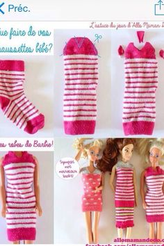 Reuse recycle lonely sock with those Barbie dress - 29 Inspirational Diy Doll Clothes Ideas Sewing Barbie Clothes, Barbie Sewing Patterns, Doll Dress Patterns, Girl Doll Clothes, Girl Dolls, Baby Dolls, Barbie Style, Barbie Furniture, Habit Barbie