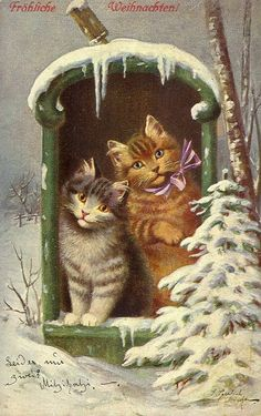 Vintage German Christmas Card with Cats in Mailbox