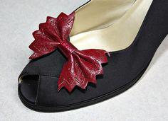 Nice Vintage Burgundy Leather Bow Shoe Clips  by estatesalegems, $4.99
