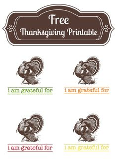 """I am grateful for...."" free printable! These would be great for Thanksgiving!"