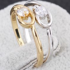 Two Colors Choose Fashion Style Copper Finger Ring Inlay White Shiny Zircon Full Sizes