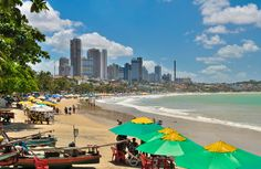 Natal Ponta Negra beach with buildings in Natal city Rio Grande Do Norte, San Jose Del Cabo, Cabo San Lucas, Visit Brazil, Beautiful Beaches, South America, Places To Visit, City, World