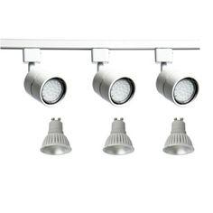 Emco Mains Track Single Circuit Lighting 1.5m Track + 3x GU10 LED Spotlight 3 Spot Light Fitting White / Silver / Black