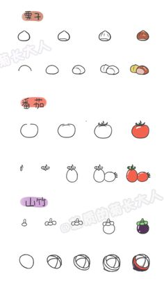 How to draw a variety of fruits 5, chrysanthemum people grow up from a matrix @