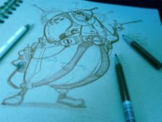 Blue-Tinted Photo of A Penciled Character Drawing In Brett Bean's Sketchbook