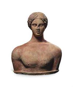 Etruscan terracotta votive bust of a youth,  circe 4th century BCE