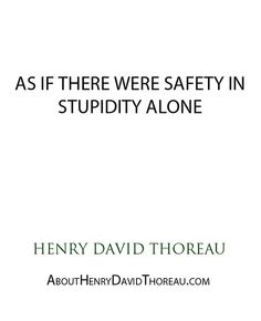 """As if there were safety in stupidity alone."" - Henry David Thoreau http://abouthenrydavidthoreau.com/?p=163"