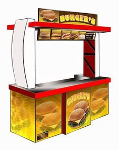 Burger 8 Food Cart Franchise Source by Small Restaurant Design, Cafe Menu Design, Food Cart Design, Kiosk Design, Booth Design, Food Cart Franchise, Fast Food Menu, Ice Cream Brands, Container Shop