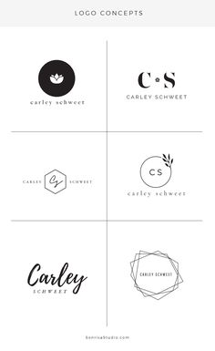 Logo design concepts. Simple logo designs made for wellness coach. Essential oils brand, circle logos with lotus flower, & initial logo with name.