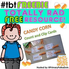 FREEBIE!!!!  Candy Corn Count and Clip Cards (Sets to 12)   #tbtFREEBIE #candycorn #autumn #fall #kampkindergarten #free #freebie  https://www.teacherspayteachers.com/Product/Candy-Corn-Count-and-Clip-Cards-Sets-to-12-934187