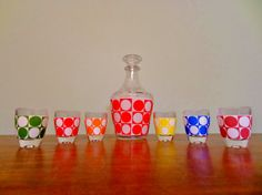 Vintage French Decanter with Six Shot Glasses, Retro Barware, MOD, Colorful Polka Dot Kitchen Barware