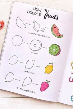 Best Step By Step Food Doodles For Your Bujo - - If you're going with a fruit or dessert theme in your bullet journal then you need to check out these super cute food doodles and tutorials for ideas! Easy Doodles Drawings, Easy Disney Drawings, Easy Doodle Art, Cute Easy Drawings, Simple Doodles, Food Drawing Easy, Random Drawings, Bullet Journal Writing, Bullet Journal Aesthetic