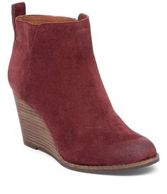 Lucky Brand Yezzah Suede Stacked Wedge Bootie (COLOR: BRINDLE, NOT RED) size 7