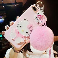 Горячее предложение For iPhone 7 plus /X 8 6 case pink Hello kitty For samsung galaxy plus edge case cartoon cat mirror cover +rope Iphone 8 Plus, Coque Iphone, Iphone 5s, Iphone Cases, Hello Kitty Merchandise, Girly Phone Cases, Pink Hello Kitty, Accessoires Iphone, Aesthetic Phone Case