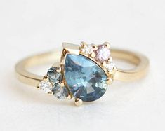 Blue Sapphire Ring, Cluster Engagement Ring, Blue Ring, Sapphire Engagement Ring, Teardrop Engagement Ring, Gemstone Cluster Ring, MinimalVS