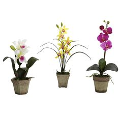 Nearly Natural 4985 Potted Orchid Mix - Set of 3