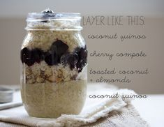 Breakfast in a jar (to-go!) coconut quinoa + a cherry compote with toasted almonds // gf + vegan