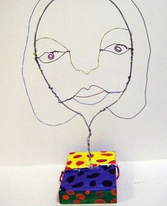 wire self-portraits (could be done after blind contour self portrait sketch activity)