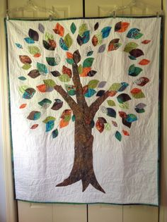 wedding quilt- love this one!! S+N in the heart and people could sign the leaves!