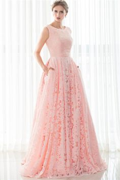 1d95b3c3f266 A Line Sleeveless Corset Back Long Pearl Pink Lace Prom Dress With Pockets
