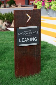 The Flats at Taylor Place — McCoy Design Wayfinding Signs, Packaging Company, Exterior Signage, Environmental Graphic Design, Corten Steel, May Flowers, Sign Design, Old And New, Clinic