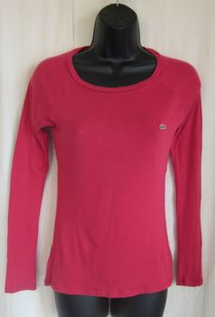 LACOSTE Women's Raspberry Pink Long Sleeve Alligator T-Shirt Size 36 S Small #Lacoste #EmbellishedTee