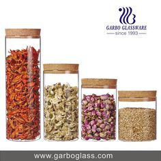 glass jar set with wooden cork for food storage