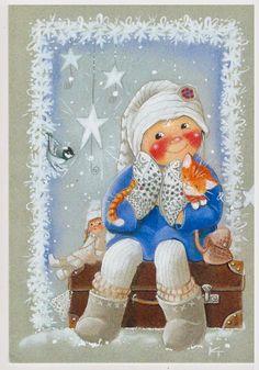 Kaarina Toivanen Christmas Clipart, Christmas Printables, Christmas Art, Christmas Greetings, Christmas Themes, Vintage Christmas, Clipart Noel, Scandinavian Kids, Winter Illustration