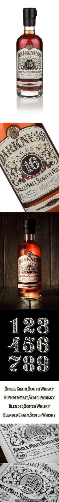 Darkness #Whisky, Designer: Ginger Monkey - http://www.packagingoftheworld.com/2014/10/darkness-whisky.html