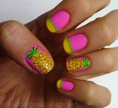 SO Delray! Bright pink nails with yellow French tips, green stripes and free hand nail art Pineapples Pineapple Nail Design, Pineapple Nails, Nail Manicure, Diy Nails, Nail Polish, Mani Pedi, Love Nails, Pretty Nails, Crazy Nails