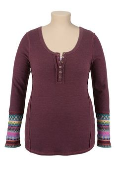 High-Low Sweater Sleeve Henley top (original price, $36) available at #Maurices