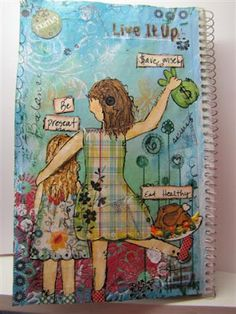 art journal - mixed media - you can have 2 or more beautiful girls on a page :)