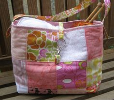 Patchwork Bag for Knitting Crocheting and Sewing by SeptemberOaks