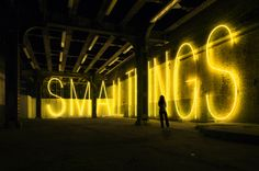 Work No. 755   SMALL THINGS	  2007	  Yellow neon	  15 x 100 ft / 4.5 x 31 m    Martin Creed: His site is neither under construction nor complete. Nice